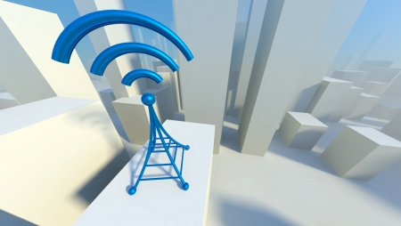 3d Wireless network in city with wifi tower, Creative concept of communication photo
