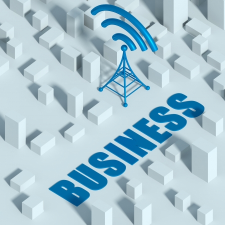 Business with wireless network and wifi tower in miniature city, 3d creative concept of communication photo