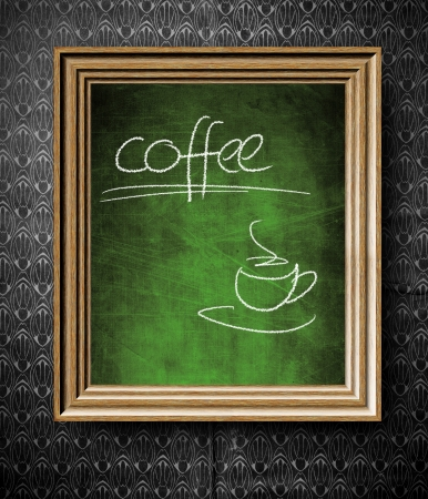 Coffee menu chalkboard in old wooden frame on vintage wall photo