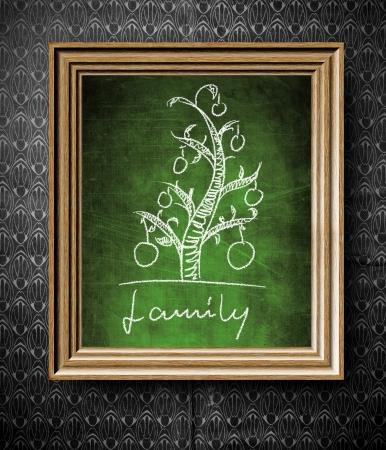 descendants: Geneological family tree chalkboard in old wooden frame on vintage wall