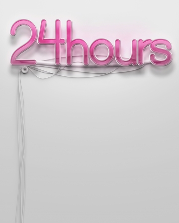 24 hour: Glowing neon signboard with 24 Hour word and copyspace