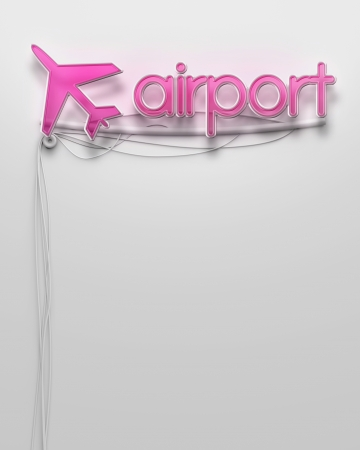 Glowing neon signboard with Airport word and copyspace photo