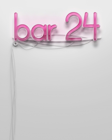 Glowing neon signboard with bar 24 word and copyspace photo