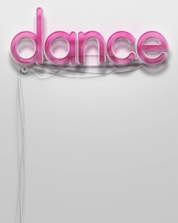 Glowing neon signboard with Dance word and copyspace photo