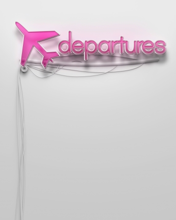 Glowing neon signboard with Departures word and copyspace photo