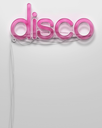 Glowing neon signboard with Disco word and copyspace photo
