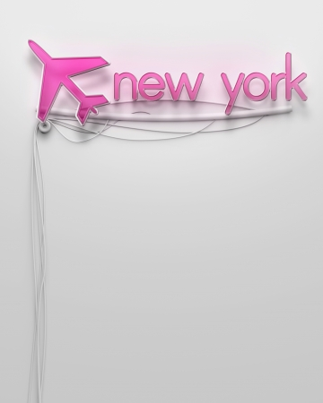 Glowing neon signboard with New York word and copyspace photo