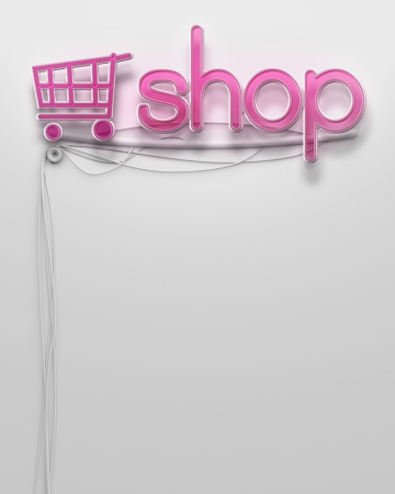 Glowing neon signboard with Shop word and copyspace photo