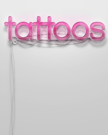 Glowing neon signboard with Tattoos word and copyspace photo