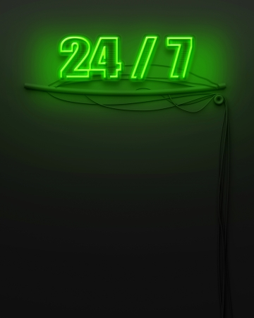 Neon glowing sign with word 24 7 and copyspace Stock Photo - 22874261