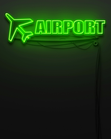 Neon glowing sign with word Airport and copyspace photo
