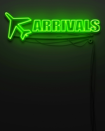 Neon glowing sign with word Arrivals and copyspace photo