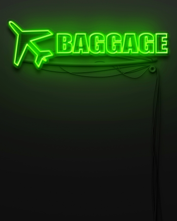 Neon glowing sign with word Baggage and copyspace photo