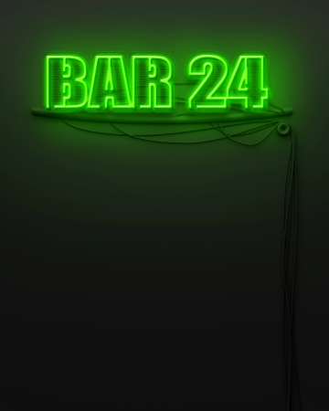 Neon glowing sign with word Bar 24 and copyspace photo