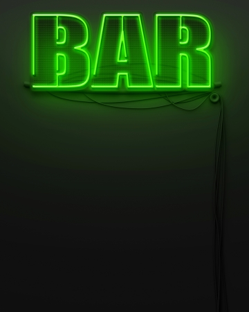 Neon glowing sign with word Bar and copyspace photo