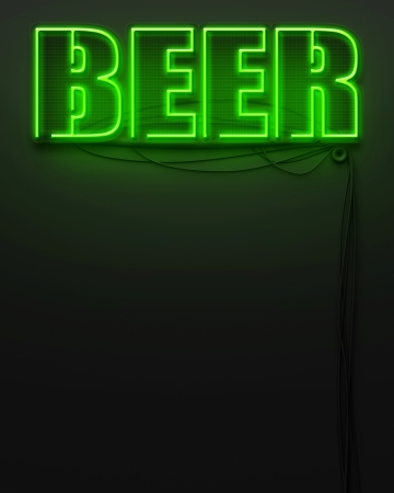 Neon glowing sign with word Beer and copyspace photo
