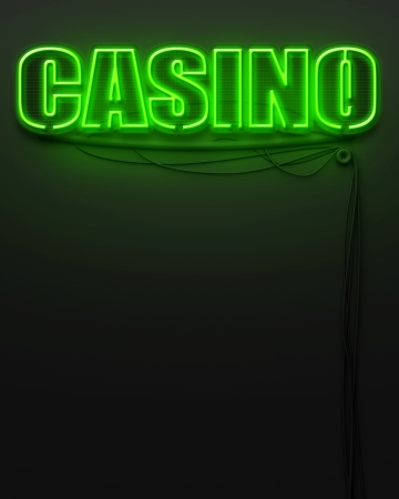 Neon glowing sign with word Casino and copyspace photo
