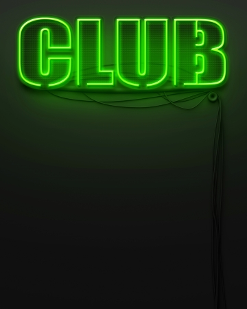 Neon glowing sign with word Club and copyspace photo