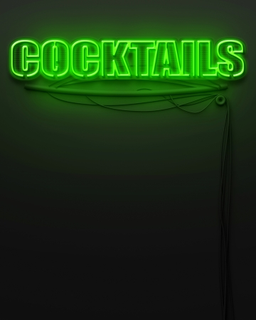Neon glowing sign with word Cocktails and copyspace photo