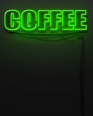 Neon glowing sign with word Coffee and copyspace photo