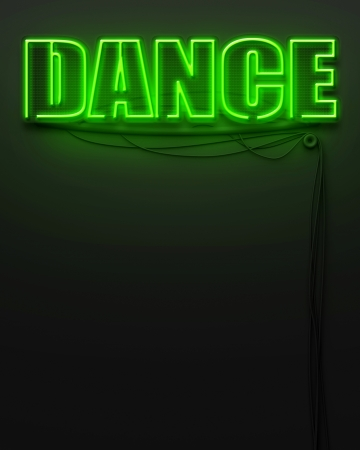 Neon glowing sign with word Dance and copyspace photo