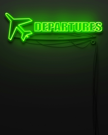 Neon glowing sign with word Departures and copyspace photo