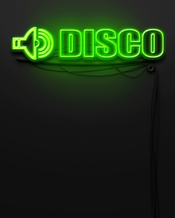 Neon glowing sign with word Disco and copyspace photo