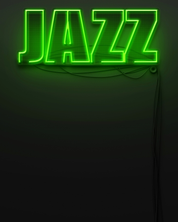 Neon glowing sign with word Jazz and copyspace photo