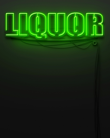 Neon glowing sign with word Liquor and copyspace photo
