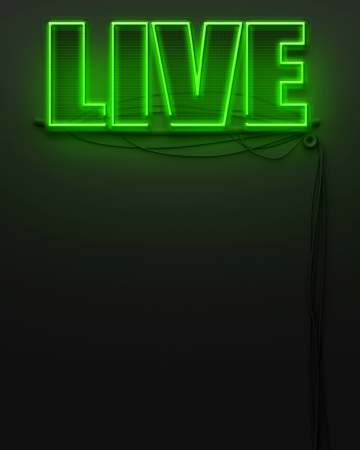 Neon glowing sign with word Live and copyspace photo