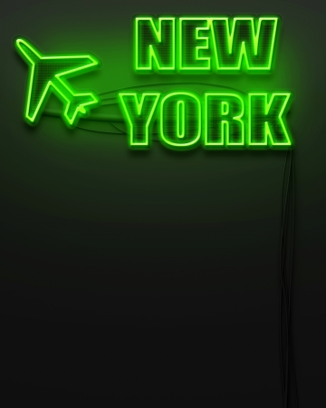 Neon glowing sign with word New York and copyspace photo