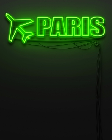 Neon glowing sign with word Paris and copyspace photo