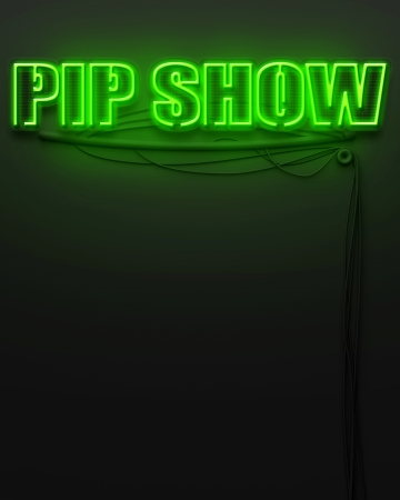 Neon glowing sign with word Pip Show and copyspace photo