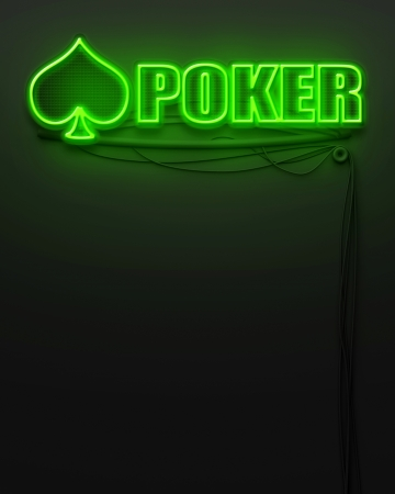 Neon glowing sign with word Poker and copyspace photo