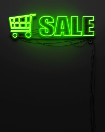 Neon glowing sign with word Sale and copyspace photo