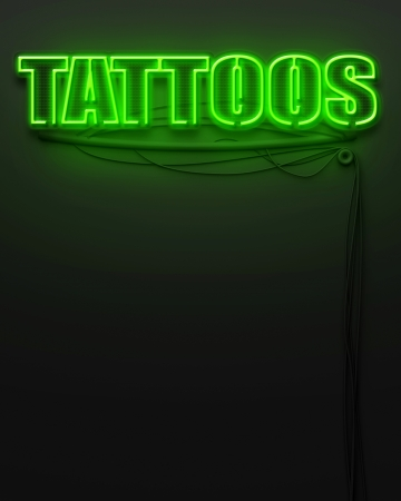 Neon glowing sign with word Tattoos and copyspace