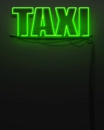 Neon glowing sign with word Taxi and copyspace photo