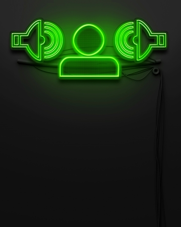 Neon glowing signboard with disco sign and copyspace photo