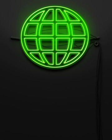 Neon glowing signboard with globe sign and copyspace photo