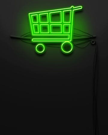 Neon glowing signboard with shopping cart sign and copyspace photo