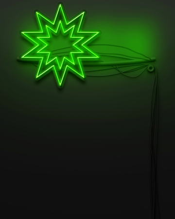 evening class: Neon glowing signboard with star sign and copyspace Stock Photo