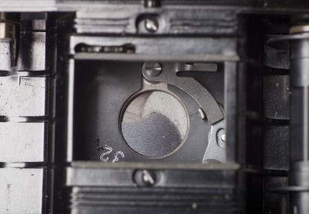 Old camera shutter close up photo