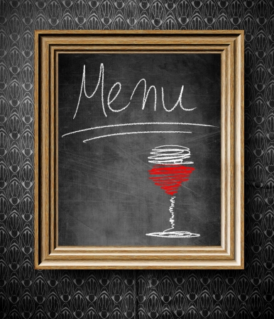rustical: Wine menu chalkboard in old wooden frame on vintage wall Stock Photo
