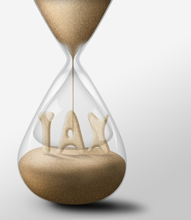 expectations: Hourglass with Tax, concept of expectations business Stock Photo