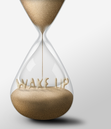 wake up: Hourglass with Wake Up, concept of work time