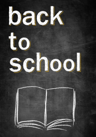 Back to school on chalk board with open empty book, conceptual sketch photo