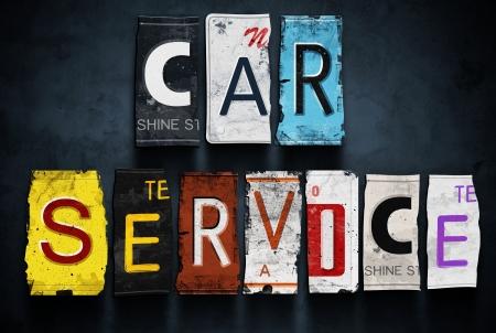 service car: Car service word on vintage broken license plates, concept sign Stock Photo