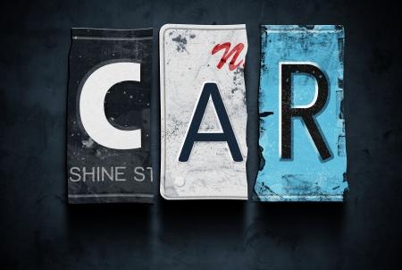 garage automobile: mot de voitures sur les plaques d'immatriculation cassés cru, signe concept