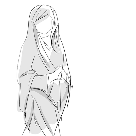Blessed virgin mary, Conceptual hand drawing sketch