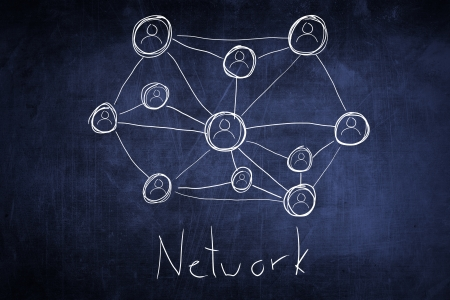 Conceptual network flow chart on chalkboard photo